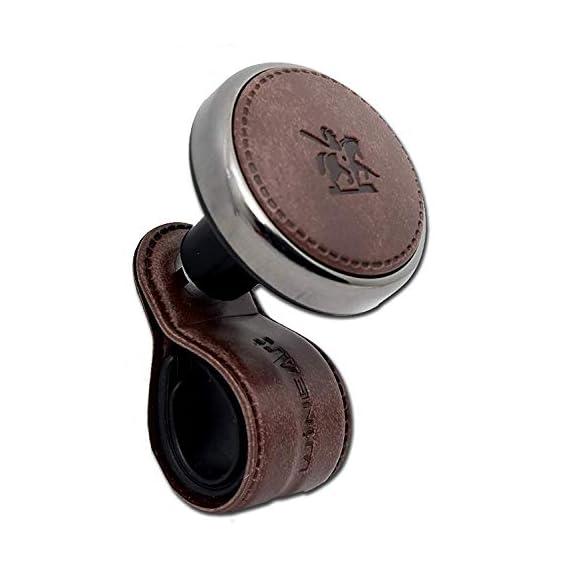 JMD GLOBAL SALES -BlackSuit Leather Power Handle Knob Handle Steering Wheel knob (Light Brown)