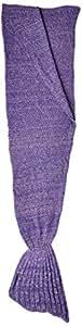 """Hughapy Christmas Soft Mermaid Tail Blanket Handmade Living Room Sleeping Blanket For Kids Adult ( 71""""x35"""", Dark Purple)"""