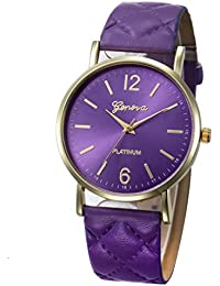 Ikevan Fashion Women Geneva Roman Watch Lady Leather Band Analog Quartz Wrist Watch (Purple)