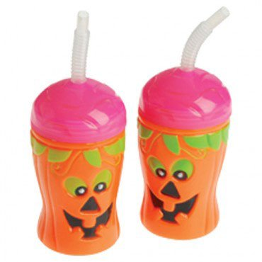 halloween theme pumpkin jack o lantern sippy sipper cup with straw