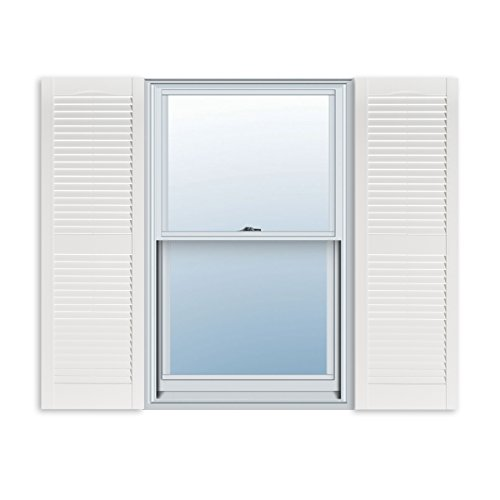 15 Inch x 55 Inch Standard Louver Exterior Vinyl Window Shutters, White (Pair)