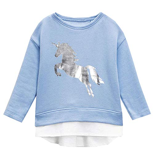 T-shirt Time Horse Quality - VIKITA 2017 Kid Girl Cotton Silvery Horse Long Sleeve T Shirt Clothes LMC0111 5T