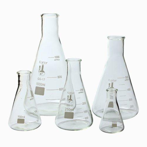 5 Piece Erlenmeyer, Borosilicate <br> 50ml, 150ml, 250ml, 500ml, & 1L