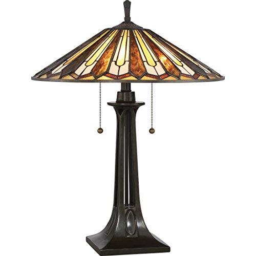 Quoizel TF2076TVB 2-Light Tiffany Table Lamp in Vintage Bronze - Quoizel Bronze Bathroom Lights