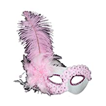 Flower Lace Mask with Feather,pink