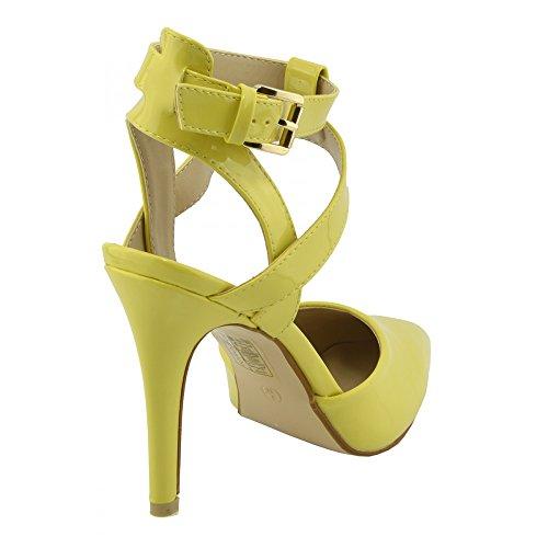 Damen Knöchel-Riemen-mid-high-heel patent Knöchel-Riemen-Schuhe Gelb