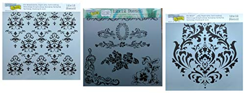 3 Victorian Style Damask Themed Stencils | Large Mixed Media Stencil Set for Arts, Card Making, Journaling, Scrapbooking | 12 Inch x 12 Inch Templates | by Crafters Workshop