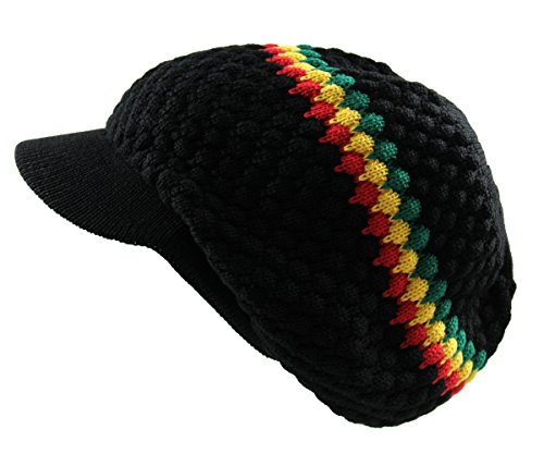 RW Men's Cotton Rasta Beanie Visor (BLACK/RGY) -