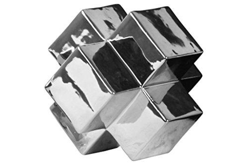 Urban Trends Ceramic Cross Cube Sculpture, Large, Polished (Chrome Large Cross)
