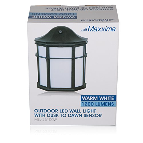 Maxxima Black Aluminum Outdoor LED Wall Pack Light with Dusk to Dawn Photocell Sensor, 1200 Lumens, 3000K, Decorative, Sconce Energy Star by Maxxima (Image #7)