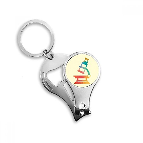 DIYthinker Cartoon Microscope Chemistry Pattern Nail Clipper Key Chain Ring Cutter Tool Bottle Opener