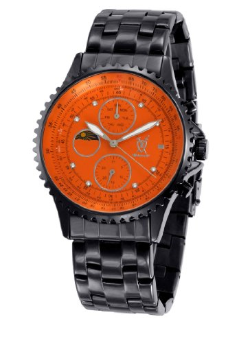 - Konigswerk Mens Watch Black Bracelet Orange Dial Multifunction Crystal Markers SQ201440G