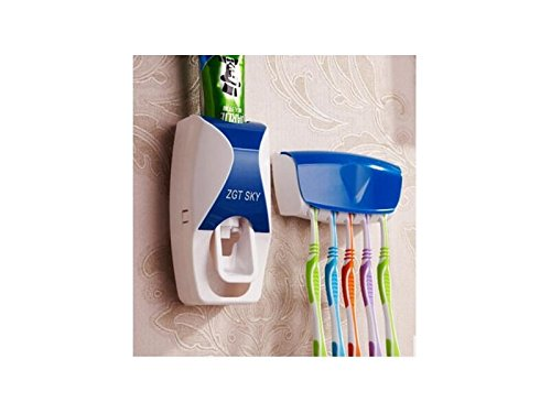Hezon Automatic Touch Toothpaste Dispenser Toothbrush Holder Set (Blue) EASY TO USE by Hezon