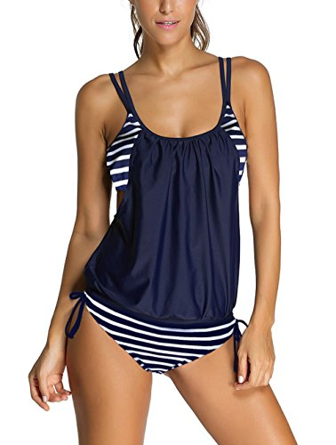 Sidefeel Women Stripes Lined Two Piece Tankini Set Large Navy