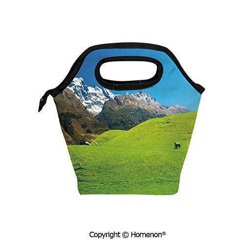 Insulated Neoprene Soft Lunch Bag Tote Handbag lunchbox,3d prited with Idyllic Hills Mountain Land Farm New Zealand Snowy Peaks Spring,For School work Office Kids Lunch Box & Food Container