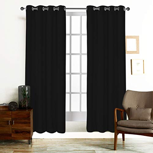 Curtain Black Natural - Tiny Break Curtains for Living Room and Bedroom, Made of 100% Natural Cotton, Eco friendly & Safe, Black curtains 84 inch long, Window Curtains Set of 2 Panels, Room Darkening Curtains by