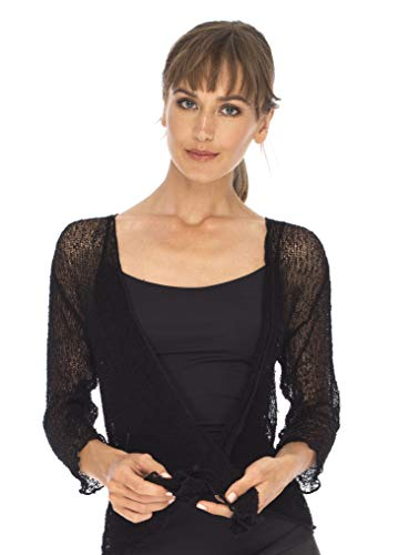 SHU-SHI Womens Sheer Shrug Tie Top Cardigan Lightweight Knit,Black,One Size