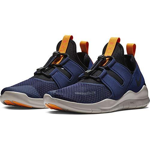 (Nike Men's Free RN Commuter 2018 Running Shoe, Blackened Blue/Black-Black-Orange Peel, 9)