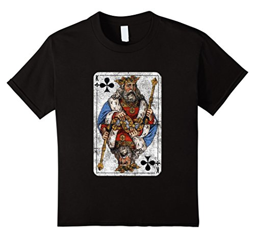 [Kids King of Clubs Playing Card T-Shirt 6 Black] (Black Russian Male Adult Costumes)