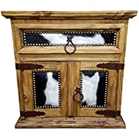 Rustic Western Nightstand End Table With Cowhide Honey Wax Finish Solid Wood