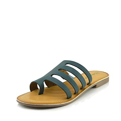Kick Footwear Women's Summer Comfort Colour Leather Sandals Green