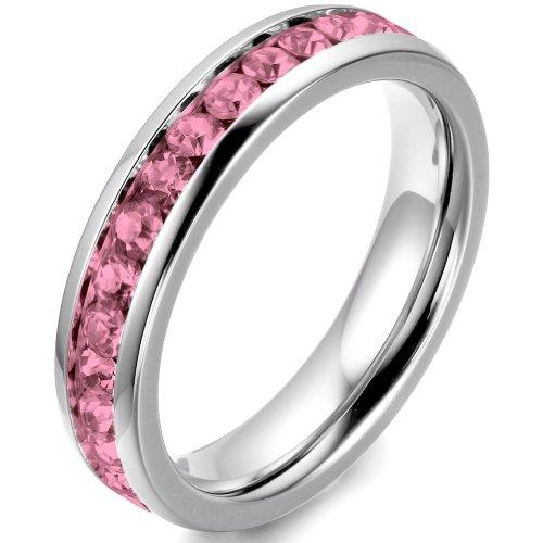 JewelryWe Bijoux Bague Femme Faux Diamant Alliance Acier Inoxydable Anneaux Fantaisie Couleur Argent Rose Largeur 4mm Avec Sac Cadeau(Taille de Bague Optionnel)