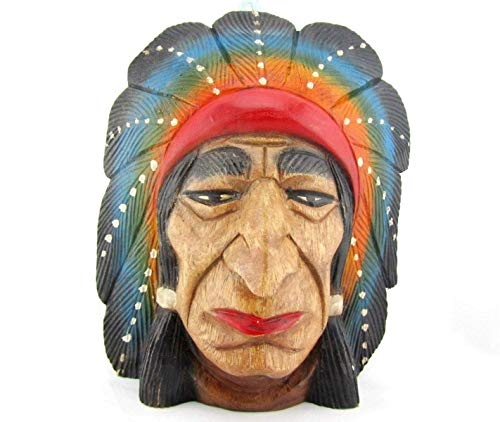 - Blue Orchid Hand Carved Wood American Indian Cigar Store Head Chief Bust Wall Decor 12