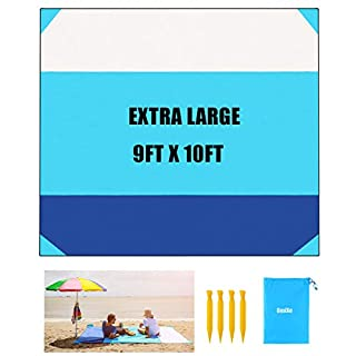 OMIXE Sand Free Beach Blanket 10ftx9ft Waterproof Camping Mat, Lightweight Durable Portable Picnic Blanket with 4 Stakes & 4 Corner Pockets for Party, Travel, Camping and Outdoor…