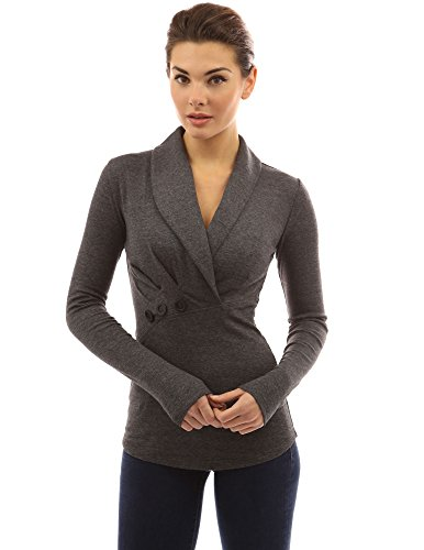 PattyBoutik-Womens-Shawl-Collar-Pleated-Detail-Blouse-Dark-Heather-Gray-M