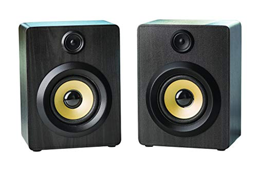- Dual Wireless Bluetooth Speakers Portable Surround Sound Speakers Set of 2 Superior Bass & Treble, Classic Wooden Finish, HD Sound Home Entertainment Parties Celebrations Birthdays (Ebony)