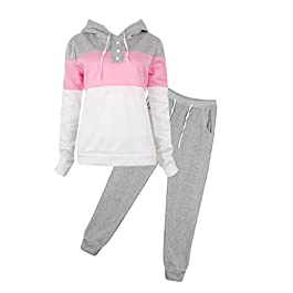 Women Casual Tracksuit Hoodie Sweatshirt Sweater Pants Sports Jogger Outfits Set (Grey, M)