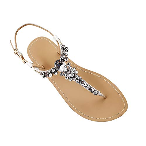 Women's Summer Flat Rhinestone Beach Comfortable Street Shoot Fashion Elegant Dress Herringbone Banquet White Bride Wedding Sandals