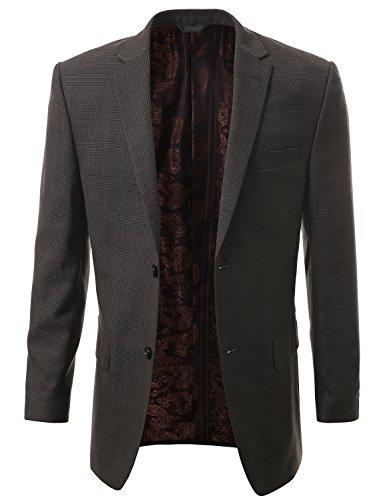 IDARBI Premium Runway Sport Coat Plaid Blazer Jacket - Gray