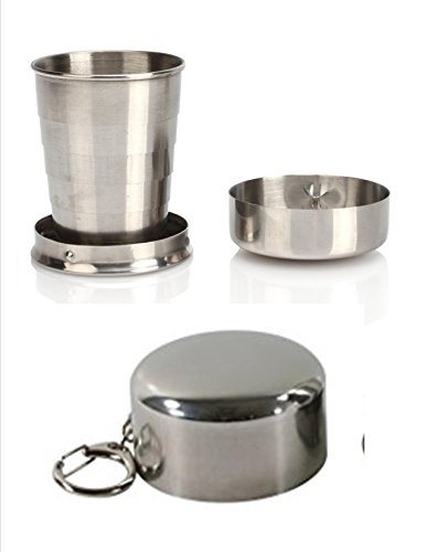 VAS First Response Black Ops 8 oz Stainless Steel Portable Outdoor Travel Camping Folding Collapsible Cup | Metal | Telescopic | Keychain | Backpacking | Hiking | Sporting Events & ()