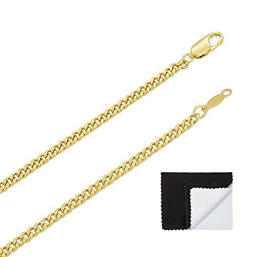 Link Bling - The Bling Factory 3mm 14k Gold Plated Flat Cuban Link Curb Chain Necklace, 22