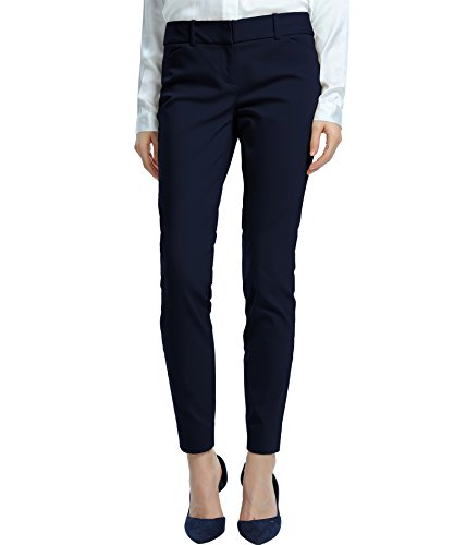 - SATINATO Women's Straight Pants Stretch Slim Skinny Solid Trousers Casual Business Office Navy