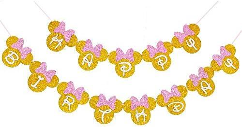 Amazon.com: Minnie Mouse - Pancarta de cumpleaños para niñas ...