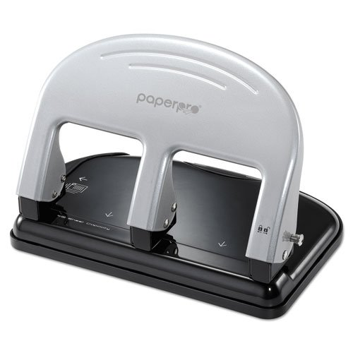 Accentra Three Hole Punch - 40-Sheet Capacity ProPunch Three-Hole Punch, Rubber Base, Black/Silver, Sold as 1 Each