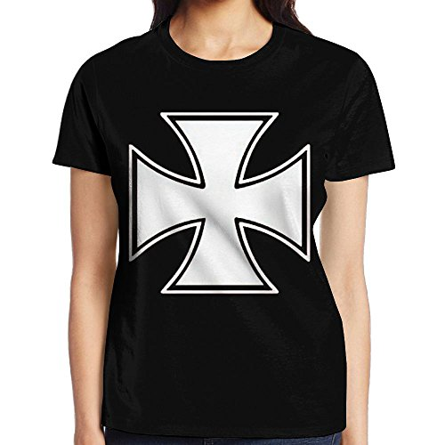 Women's IRON CROSS - Skater Biker Outlaw Motorcycle Stylish Casual Design 3D Printed Short Sleeve T Shirts Tees X-Large