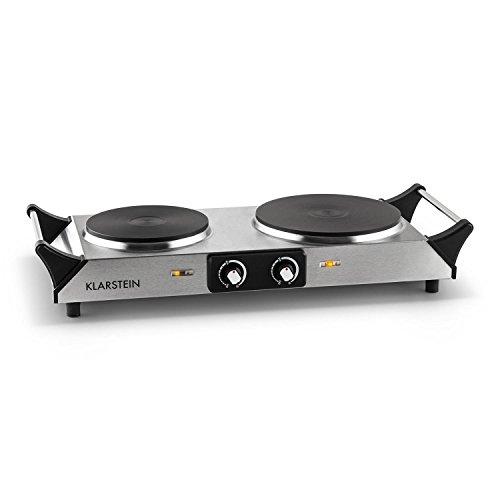 Klarstein Cookorama Mobile Mini Doppel Herdplatte Edelstahl Kochplatte mit 2 Kochfelder (2500W, stufenlos einstellbare Temperatur, Tragegriffe) schwarz