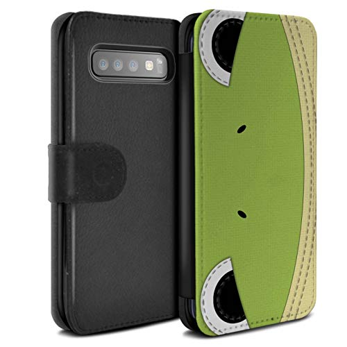 Frog Quilted (eSwish PU Leather Wallet Flip Case/Cover for Samsung Galaxy S10 Plus/Frog Design/Animal Stitch Effect Collection)