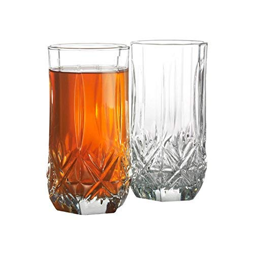 Drinking Glasses Highball, Set of 4-16oz. USA MADE! LEAD FREE! Elegant, Cut Crystal Like, Old-Fashioned, Great Quality Look Expensive WITHOUT HI COST! For Daily Use, Special Occasions & Holiday Season