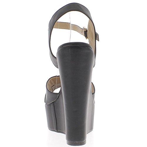 Grande piattaforma di 5cm e tacco alto Sandali taglia nero 15,5 cm