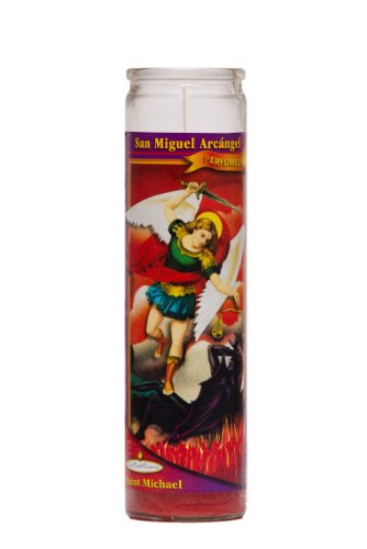 St Michael Arch Angel Religious Prayer Candle / San Miguel Novena Vigil Candle / Saint Michael (Cinnamon Perfumed Red Wax)