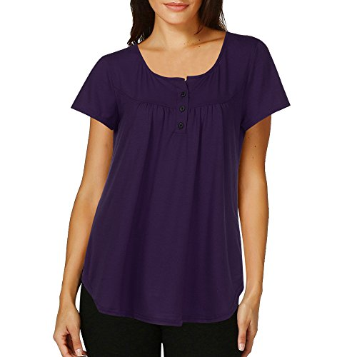 Ruched Pullover (Chanyuhui Women Shirts Lady Solid Row Pleats Button Ruched Casual Short Sleeve Blouse Tunic Pullover Irregular Tops Plus Size (M, Purple))