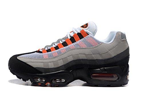 95 Air (Mens Air Max 95 Essential Leather Trainers Running Sneaker White/Solar Red-Neutral Grey-Medium Grey 10 D(M) US=44EU)