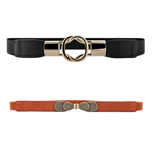 VOCHIC Womens Skinny Dress Belt for Ladies Fashion Elastic Waist Band Belts Gold Buckle