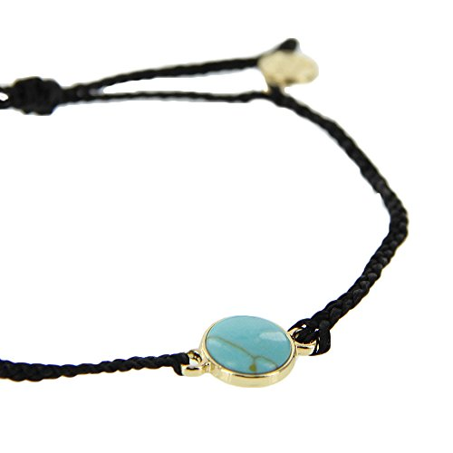 Pura Vida Gold Riviera Stone Bezel Braided Black Bracelet - Plated Charm, Adjustable Band - 100% Waterproof by Pura Vida (Image #1)