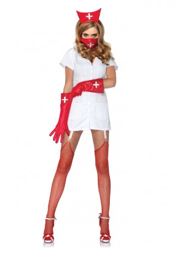 Leg Avenue Costumes 4Pc.Psycho Nurse Sally Garter Dress Face Mask Arm Piece Headpiece, White, Medium -