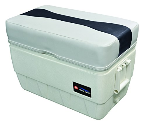 Wise 3015-1801 Sky Grey, Dove Grey, Laguna Blue Carbon Fiber Talon 48 Qt. Igloo Cooler Seat/Ottoman, Sky Grey-Dove Grey-Laguna Blue Carbon - Wise Pontoon Boat Furniture